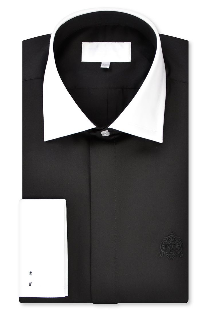 Black Contrasting Cutaway Collar Shirt with Matching Tie – William Hunt Savile Row