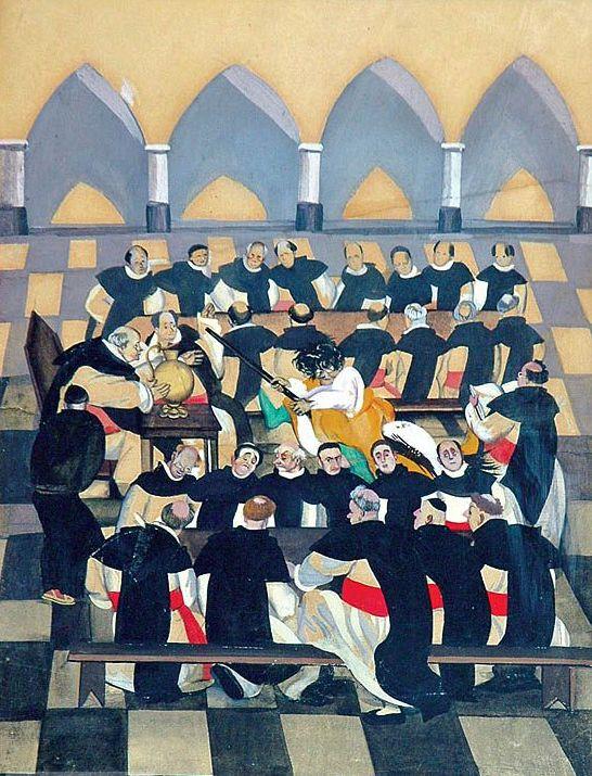 """Stryjeńska Ilustracja do """"Monachomachii"""" Ignacego Krasickiego Kraków 1921 gwasz, papier 34 x 24 cm"""