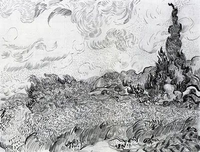 Vincent Van Gogh, drawing of wheat field with cypresses (1889) [Van Gogh Museum, Amsterdam]