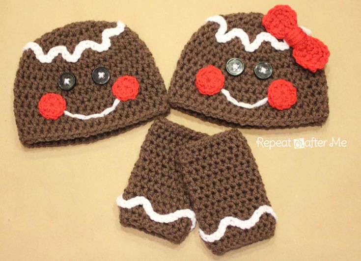 Repeat Crafter Me: Gingerbread Man Crochet Hat FREE PATTERN!    --- I made these for all of the babies in my family for Christmas and they were precious!  Repeat Crafter Me has some of the cutest (and easy to follow) patterns.