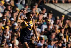 SUN-1401349 © WestPix AFL Round 2 - West Coast Eagles vs St Kilda Saints, at Subiaco Oval, Perth. Pictured - West Coast's Josh Hill celebrates a goal in the first term. Picture: Daniel Wilkins