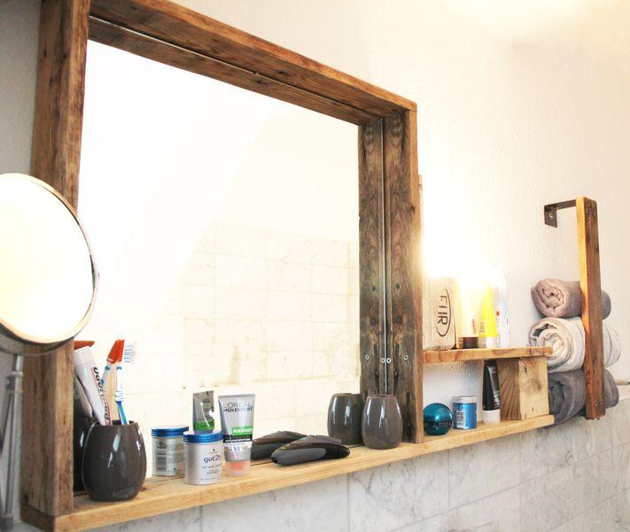 Badspiegel - Bad Spiegelregal beleuchtet inkl. Handtuchhalter - ein Designerstück von PalisseDesign bei DaWanda