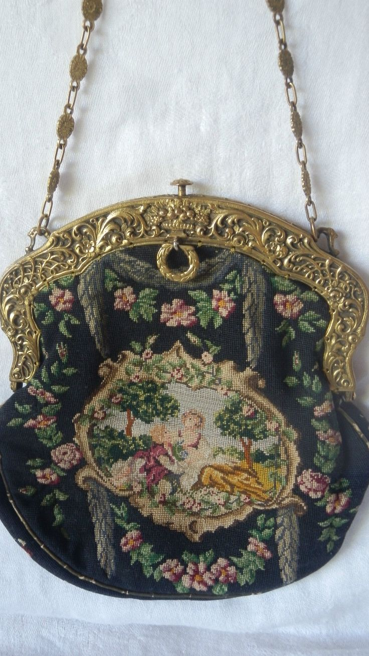 antique petit point romantic purse gold frame handle needlepoint [ 736 x 1308 Pixel ]