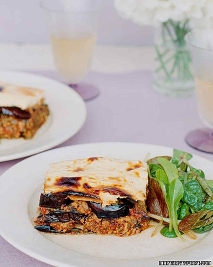 Eggplant is layered with a mixture of low-fat turkey, tomatoes, onions, garlic, and spices and topped with a light yogurt sauce in our version of moussaka, a Mediterranean classic. Moussaka may be assembled a day in advance and refrigerated; bake for an additional 15 to 20 minutes or until center is hot.Return to Healthy Greek Menu.