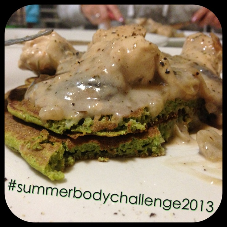 "Tonight's dinner:  ""Hulk Pancakes"" - Recipe from @My Food Religion's blog.   Pancakes:  Almond meal Wholemeal Spelt Flour Zucchini Spinach Eggs Almond milk Salt & Pepper  Chicken & Mushroom Sauce:  Chicken & onion diced, brown in pan. Add in mushrooms & can of coconut milk. Thyme, salt & pepper. Simmer until it thickens.   #31daytransformation #nomnomnom #summerbodychallenge2013 #crapfree"