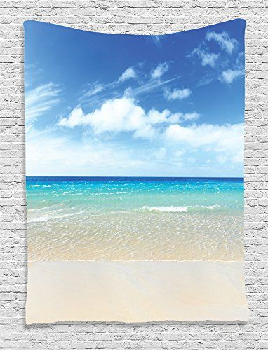 Ambesonne Ocean Decor Collection Tropical Sandy Beach at Summer Sunny Day Picture Print Bedroom Living Kids Girls Boys Room Dorm Accessories Wall Hanging Tapestry Blue Turquoise White Ivory *** Click image to review more details.