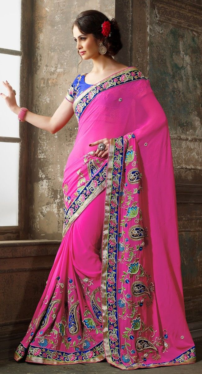 Very pretty pink and blue #saree, perfect