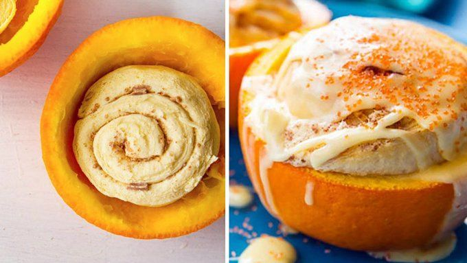 Nothing could be more clever than baking orange cinnamon rolls inside a real orange bowl.