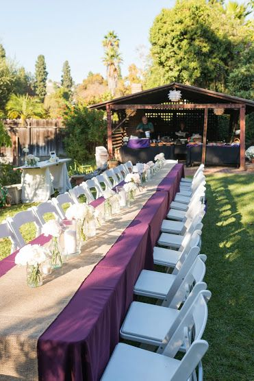 Back yard wedding: purple and tan/burlap