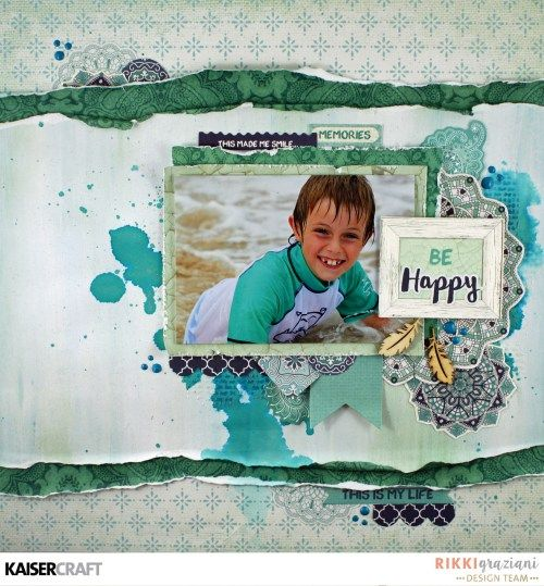 'Be Happy' layout by Rikki Graziani Design Team member for Kaisercraft showing Texture Techniques & using their 'Ubud Dreams' collection (January 2017) saved from kaisercraft.com.au - Wendy Schultz - Mixed Media.