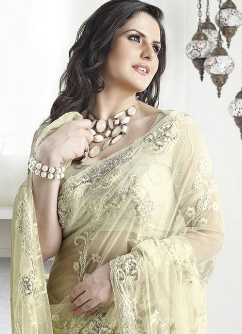 Cream Georgette and Net Saree Zarine Khan Collection