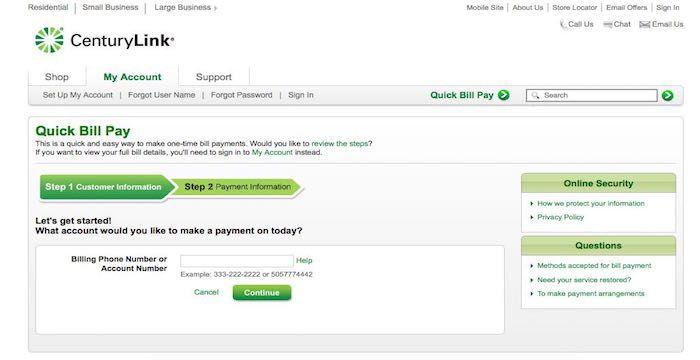 CenturyLink Bill Pay