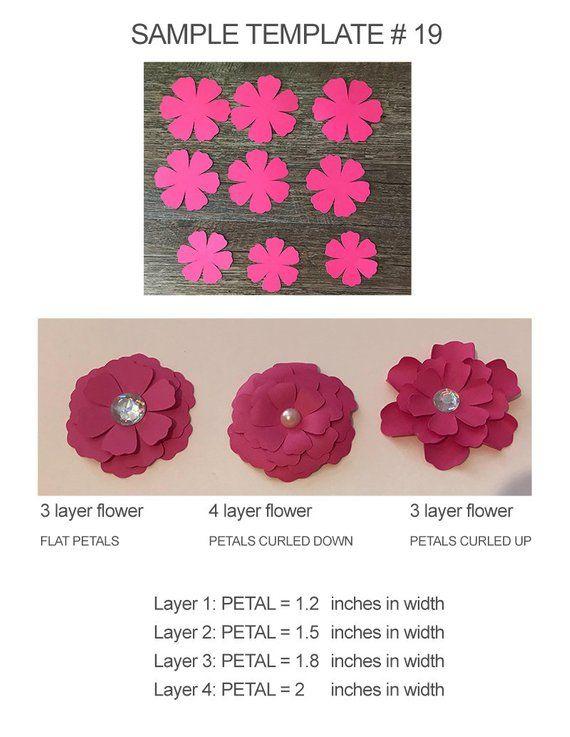 Svg Paper Flower Template Vector Flowers Petals Diy Paper Flowers