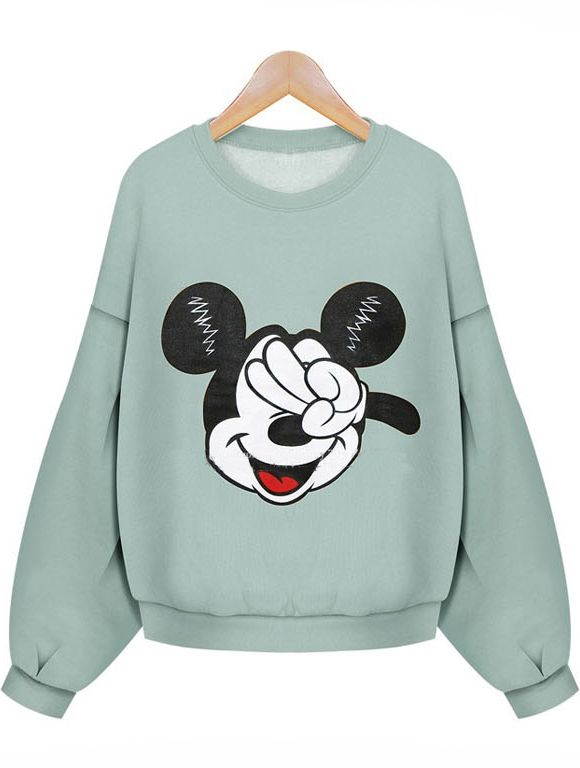Mickey Print Loose Green Sweatshirt