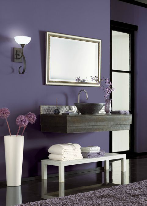 Bold behr hyacinth arbor purple adds a dramatic base to for Dark purple wall color