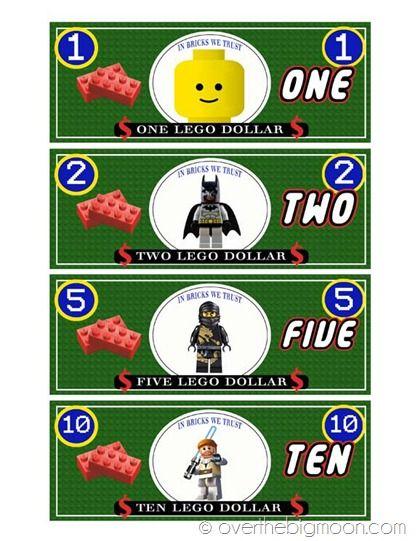 Free Printable Lego Money!   Over The Big Moon - SO cute!