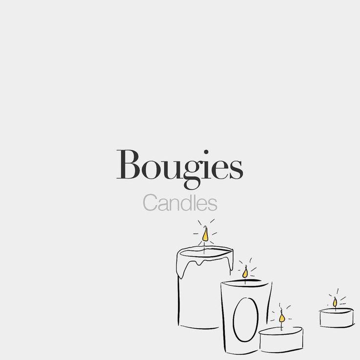 Bougies (feminine word) | Candles | /bu.ʒi/ #frenchwords  Drawing: @beaubonjoli.