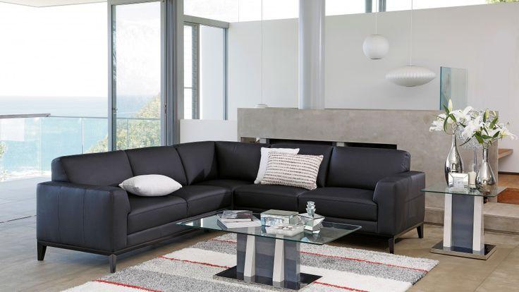 Ecuador Leather Corner Lounge - Lounges - Living Room - Furniture, Outdoor & BBQs | Harvey Norman Australia