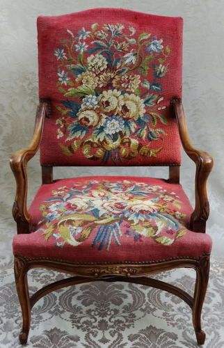 ANTIQUE 19 TH C. LOUIS XV NEEDLEPOINT MASTER CHAIR ORIGINAL FLORAL UPHOLSTERY
