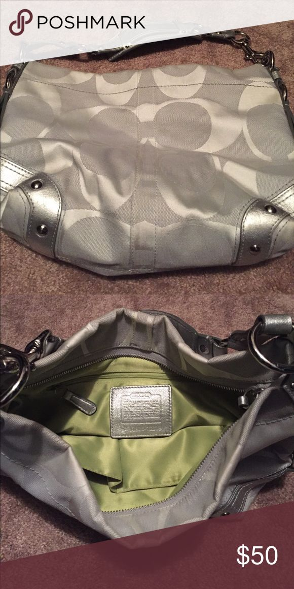 Authentic Silver Coach purse - price reduced! Excellent condition. Barely used! Make me an offer!! Coach Bags Shoulder Bags