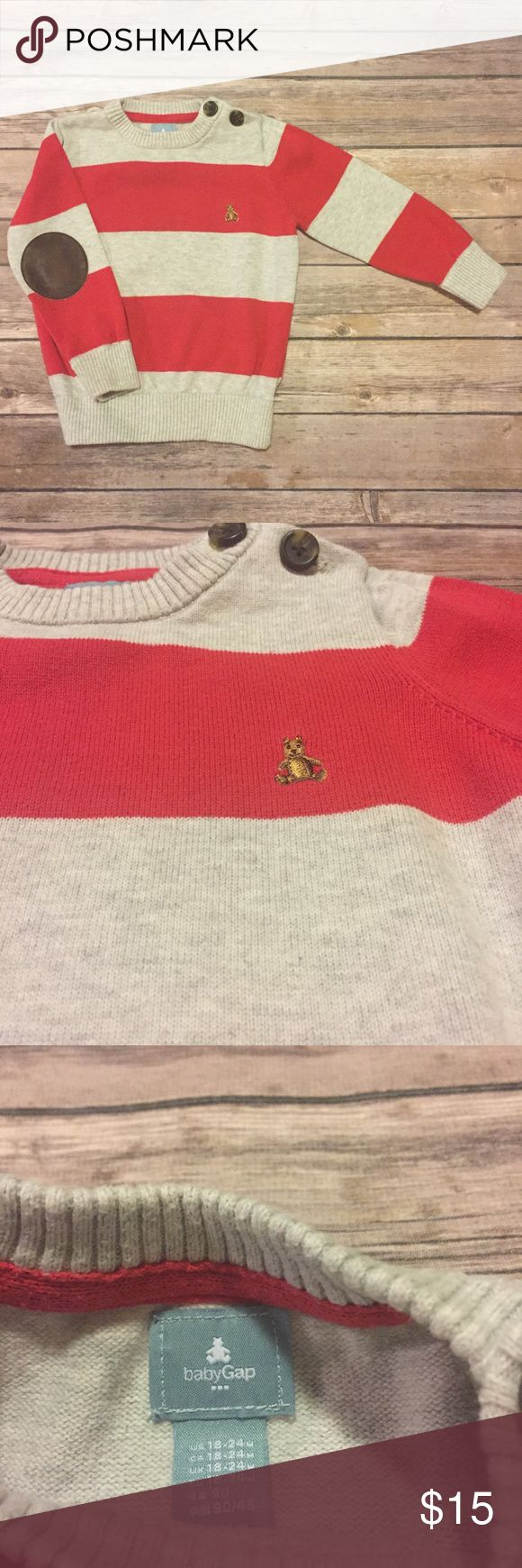 Baby Gap (outlet) Striped Sweater, 18-24 months Baby Gap (outlet) Striped Sweater, 18-24 months, lightweight knit crew neck sweater in red and grey stripes, buttons at shoulder, brown leather elbow patches. VGUC for second owner and light wash wear. GAP Shirts & Tops Sweaters