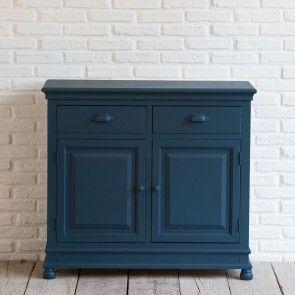 Credenza 2 ante 2 cassetti in legno blu ottanio shabby Luxe Lodge
