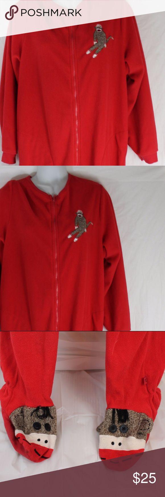 Nick and Nora Sock Monkey sz Large Footed Pajamas Nick and Nora Sock Monkey sz Large Footed Pajamas red fleece Nick & Nora Intimates & Sleepwear Pajamas