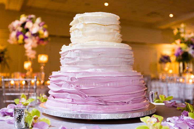 Ombre Wedding Cake; Cold Spring Country Club Wedding, New York - The Coordinated Bride; Sarah Tew Photography