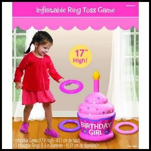 "Great party game for the little ones. Safe for indoors, the cake inflates to 17"" and comes with 3 inflatable rings. $6.99 Cdn. http://www.allthatstuff.net/Favors/favoursandfunstuff.htm"
