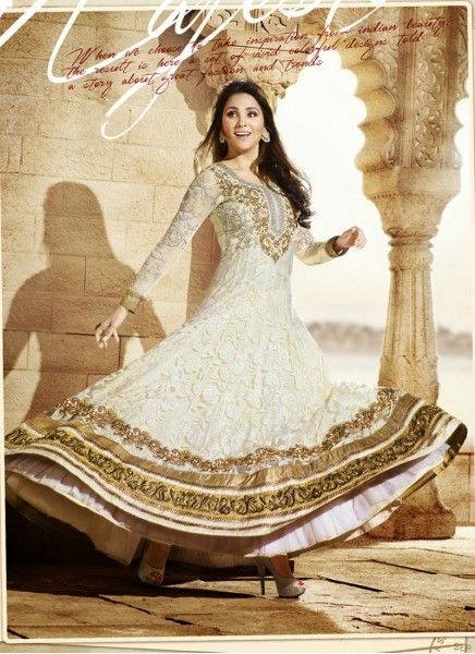Lara Dutta Angelic Gold and White Party Wear Anarkali Suit