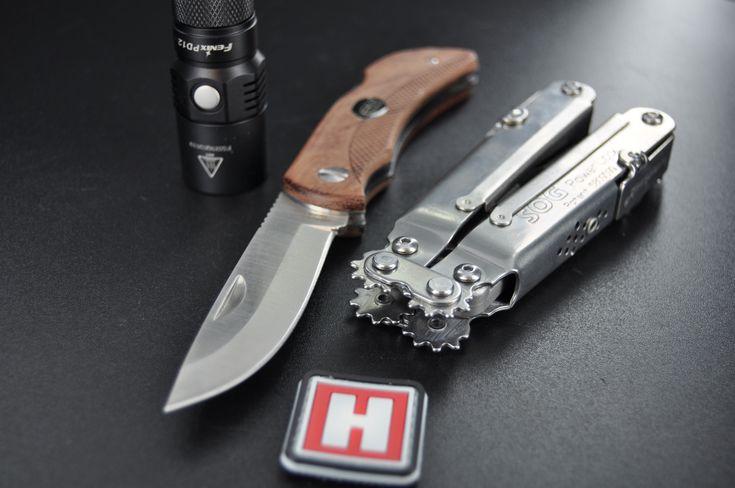 EKA Swede 10 Pocket Knife, SOG Powerlock Multi-Tool and Fenix PD12 Flashlight