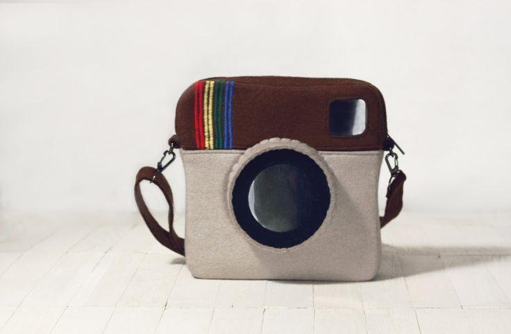 Instagram Purse Brown Beige Felt by krukrustudio,