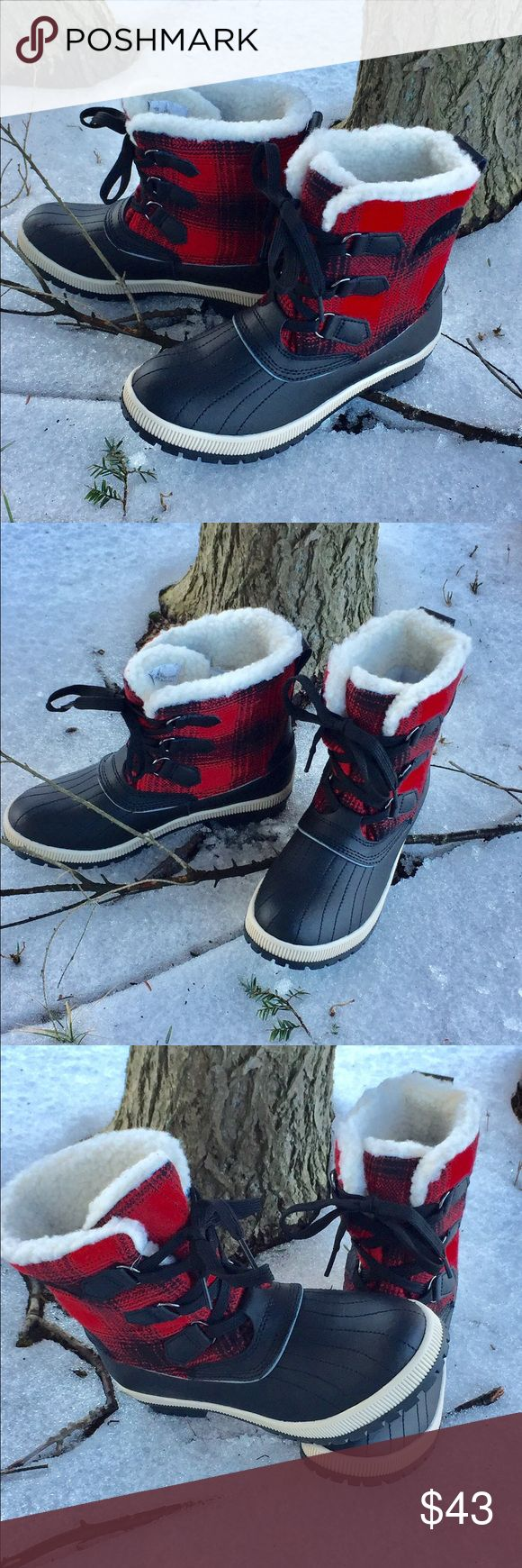 KHOMBU Boots. Fun and comfortable Winter booties. Brand new! Red and Black Plaid is really eye catching! Khombu Shoes Ankle Boots & Booties