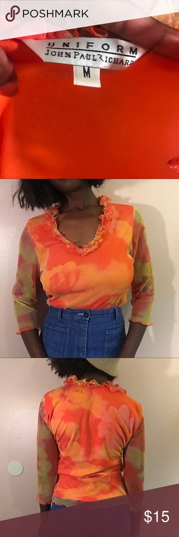 Orange and yellow mesh floral top medium Steal my sunshine with this orange and yellow floral top! Mesh shoulders and froufrou collar. Size medium! 🌞🌞🌞 DM TO PURCHASE!! #jonhnpaulrichard #top #blouse #mesh #floral #womenswear #womensfashion #womensclothing #clothing #shirt #sunshine #sun #flowers #floral #vintage #retro #luxury #ebay #poshmark #depop #expensive #luxury #vinted #smallbusiness #blackowned #90s #style Tops Blouses
