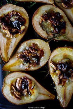 gruszki zapiekane z gorgonzola i orzechami
