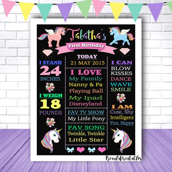Blackboard Unicorn Print for Girls  Happy Birthday Poster