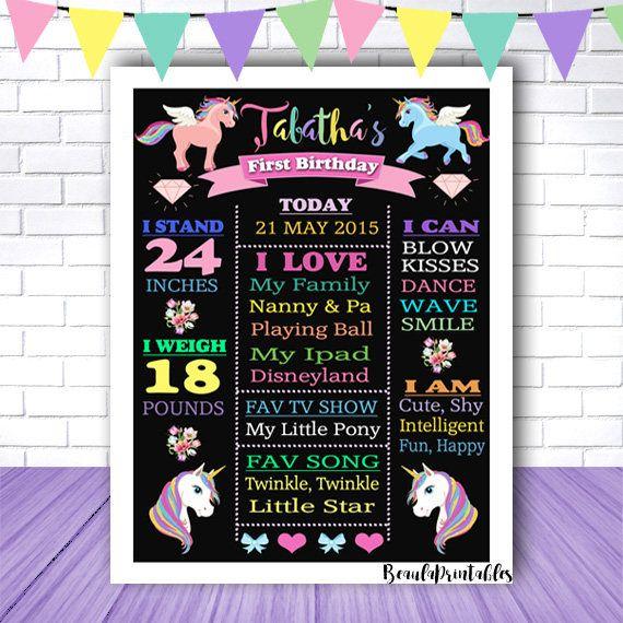 Blackboard Unicorn Print for Girls  Happy Birthday Poster