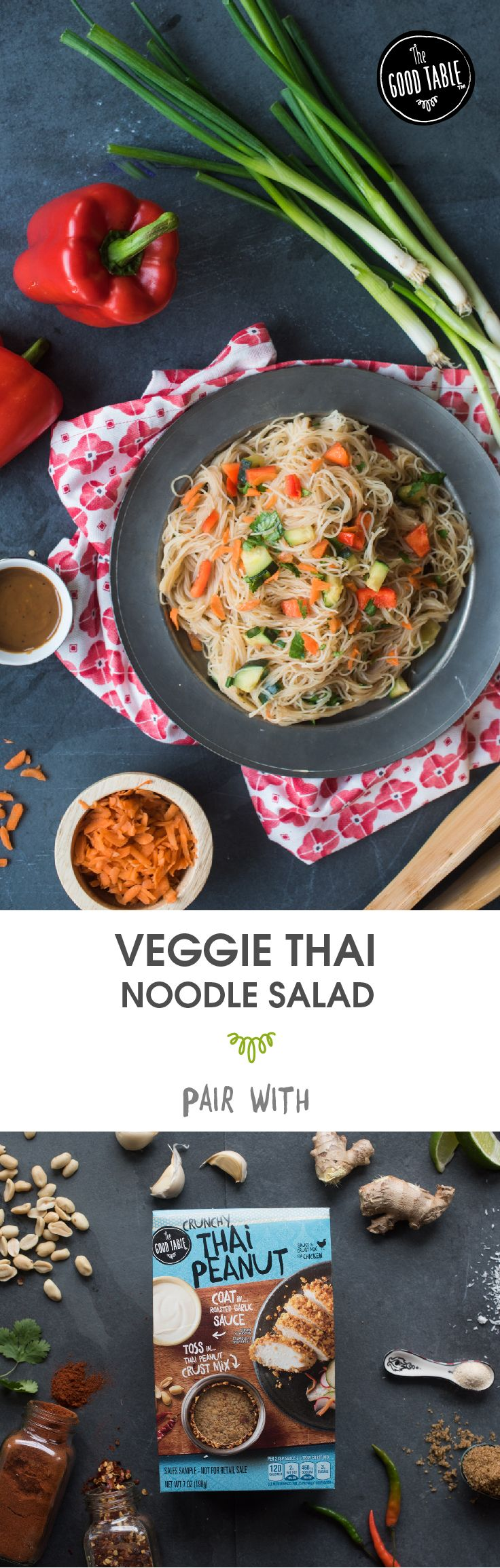 Break the routine with The Good Table Crunchy Thai Peanut Chicken paired with this yummy kid-friendly Veggie Thai Noodle Salad! Link to The Good Table product locator and recipe for Veggie Thai Noodle Salad at TheGoodTableFoods.com