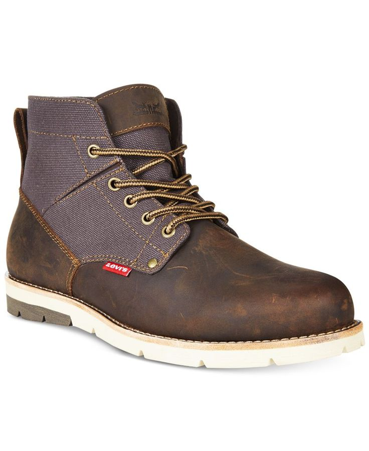 Your blue jeans look gets a rugged update with these casual leather boots from Levi's. | Leather upper; rubber sole | Imported | Plain toe | Lace-up closure with metal eyelets | Heel tab for easy on a