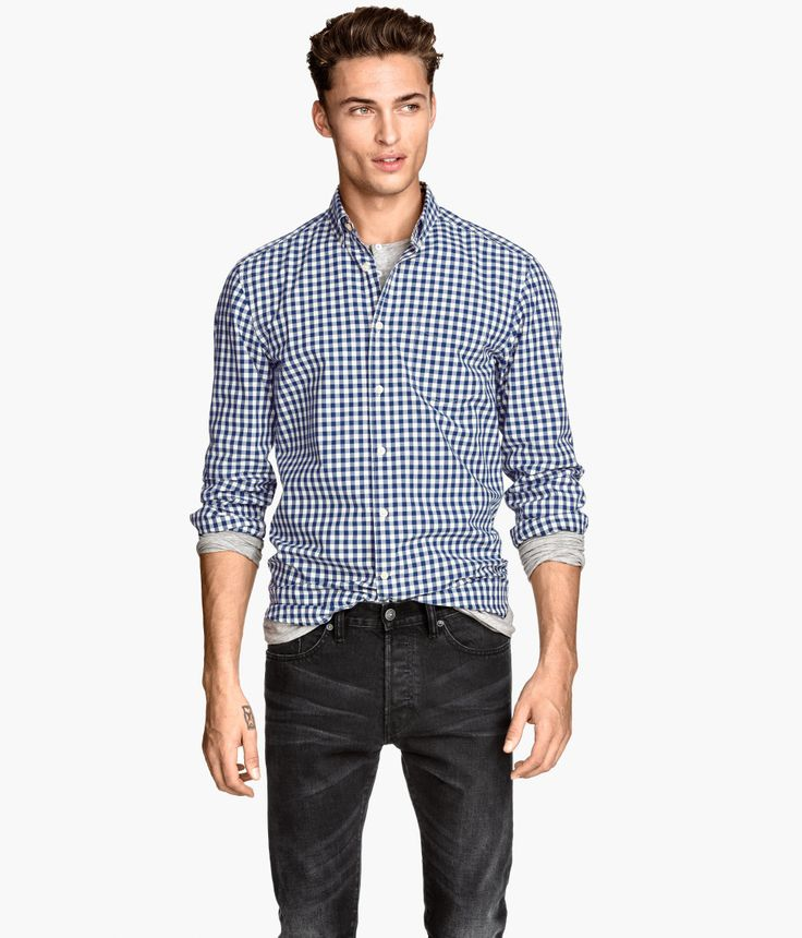 Blue white gingham shirt with button down collar and for Mens blue gingham shirt