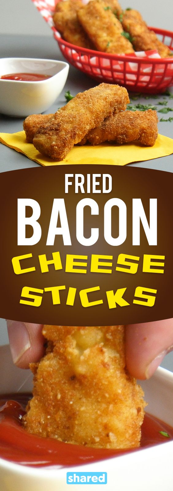 Move over mozzarella sticks, there's a new sheriff in town! Fried Bacon Mac and Cheese Sticks are the best thing since...well, a lot of things! These may sound complicated, but it's actually super easy to fry up these cheesy sticks. With the added saltiness from the bacon and ooey gooey cheese, this is an appetizer for the books! Serve with ketchup or marinara sauce for a dippable feast!