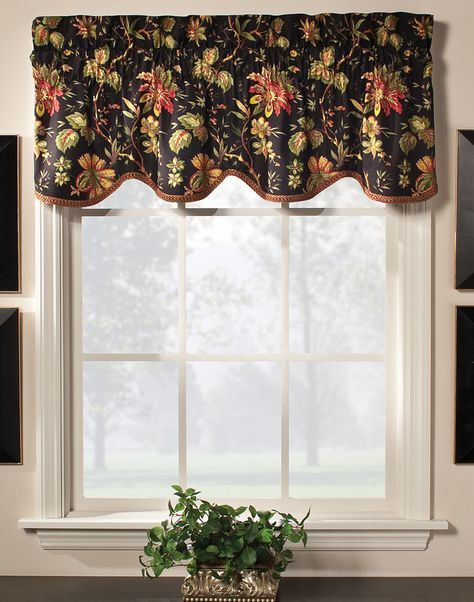 Felicite Scalloped Valance by Waverly. Multi Color Jacobean pattern of creme or black background, fabric is 100% Cotton. #Waverly #Curtains