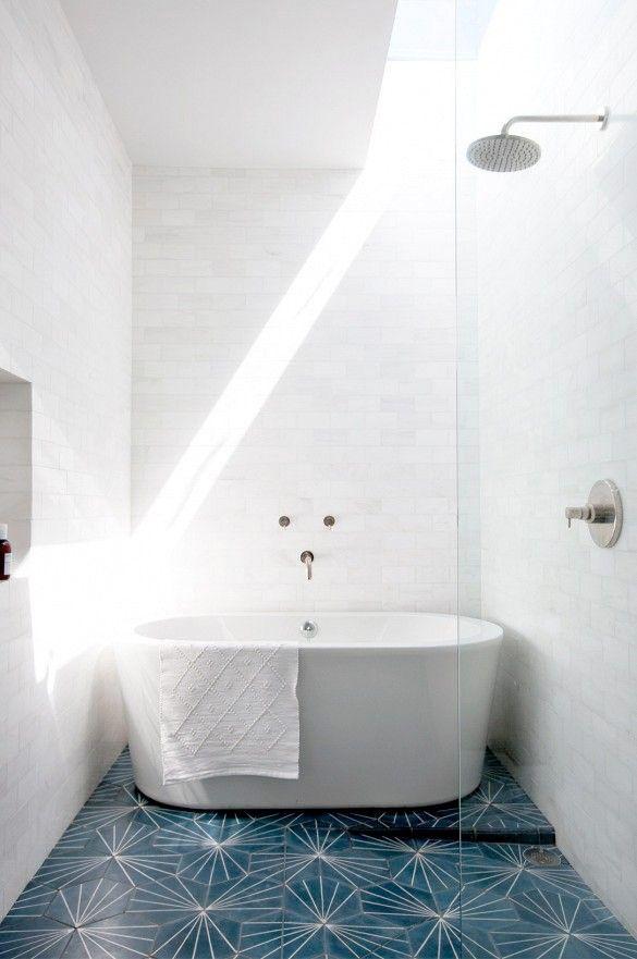 16 exempel på små badrum med plats för badkar - Sköna hem small bathroom with tub white colorful floor tiling