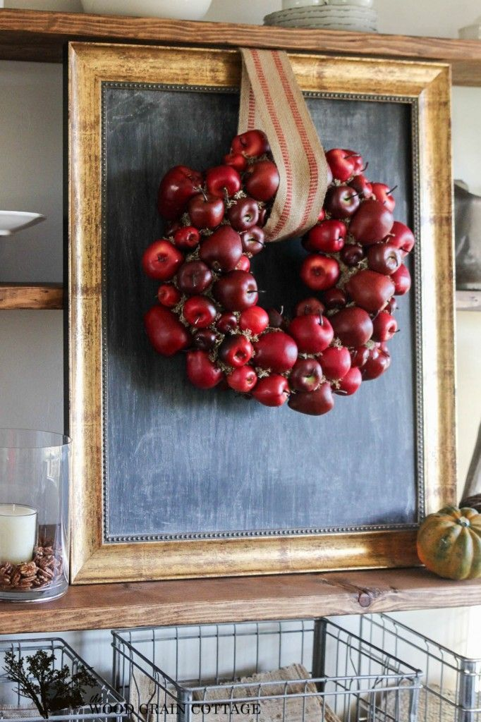 Here's a new wreath to try, a DIY Apple Wreath. It's easy, beautiful, and eye catching! Full tutorial at The Wood Grain Cottage