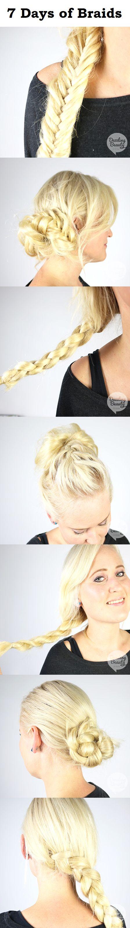 7 days of braids! Every day a different braid. Check my blog for the hair tutorials http://www.dazzling-beauty.nl/haar/tutorials/vlechten-7-dagen-een-andere-vlecht