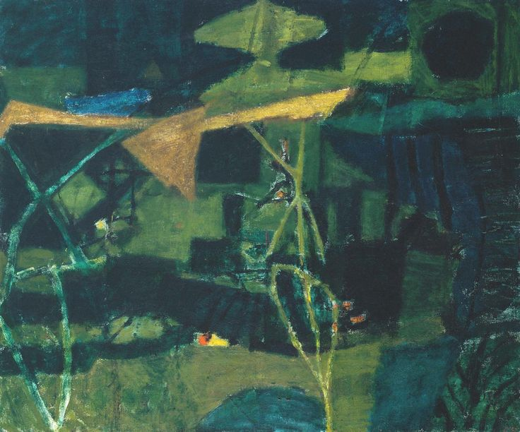 Peter Potworowski, 1898–1962. Forest (Cornwall), 1954, Oil paint on canvas, 641 x 764 mm  | Tate