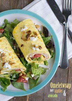 Omeletwrap.... met kipfilet en avocado