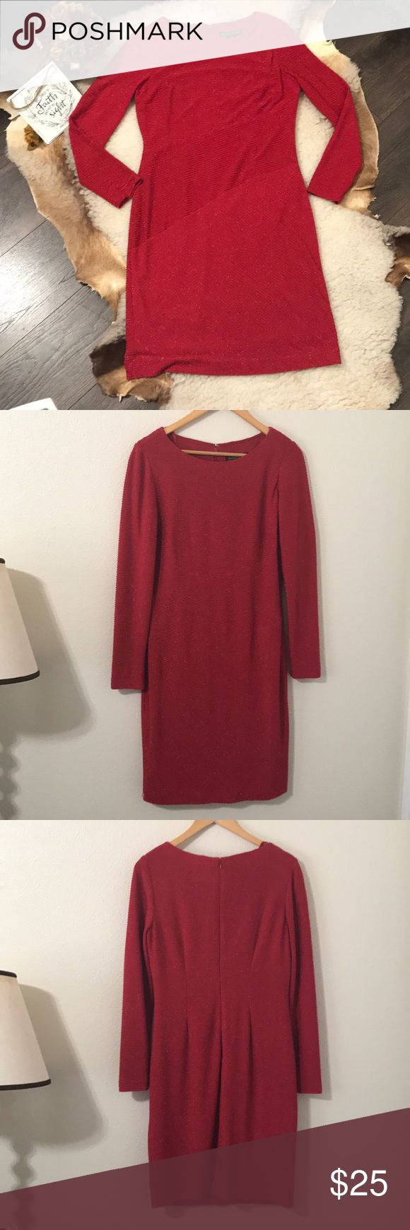 Jessica Howard Red Sparkle Dress Sz 10 Jessica Howard Red Sparkling Dress in great used condition. Perfect to wear to the office or your next event. Underlining makes it comfortable and not sheer at all. From a pet and smoke free home. Jessica Howard Dresses Long Sleeve