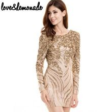 Love&Lemonade Gold Sequined Halter Party Dress  TB 9700(China (Mainland))
