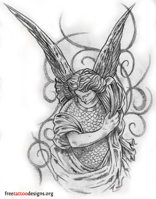 Male angel tattoo design